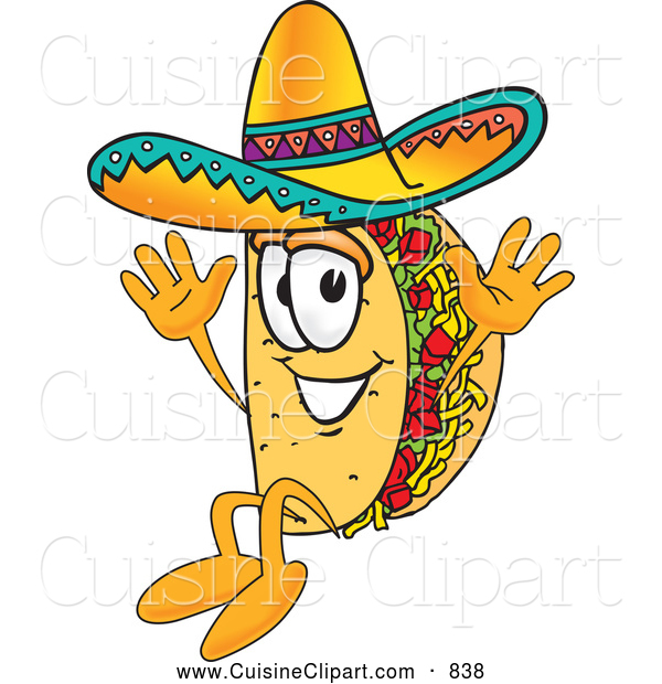 Cuisine Clipart of a Cute Taco Mascot Cartoon Character Jumping