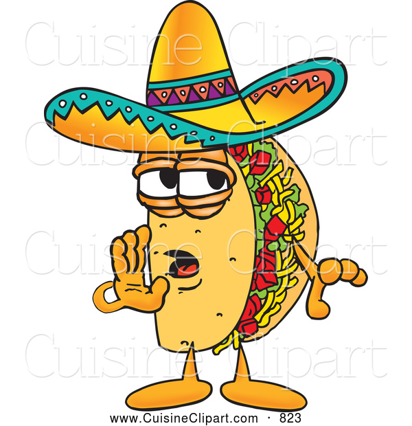 Cuisine Clipart of a Cute Taco Mascot Cartoon Character Whispering and Gossiping