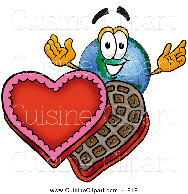 Cuisine Clipart of a Cute World Earth Globe Mascot Cartoon Character with an Open Box of Valentines Day Chocolate Candies