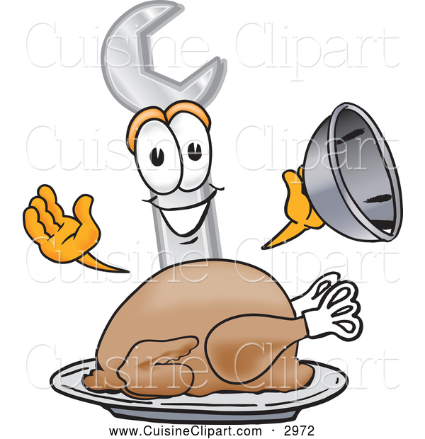 Cuisine Clipart of a Cute Wrench Mascot Cartoon Character Serving a Thanksgiving Turkey on a Platter
