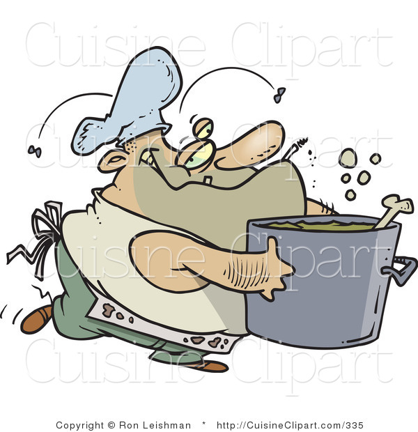 Cuisine Clipart of a Dirty Chubby and Stinky Male Cook Carrying a Pot