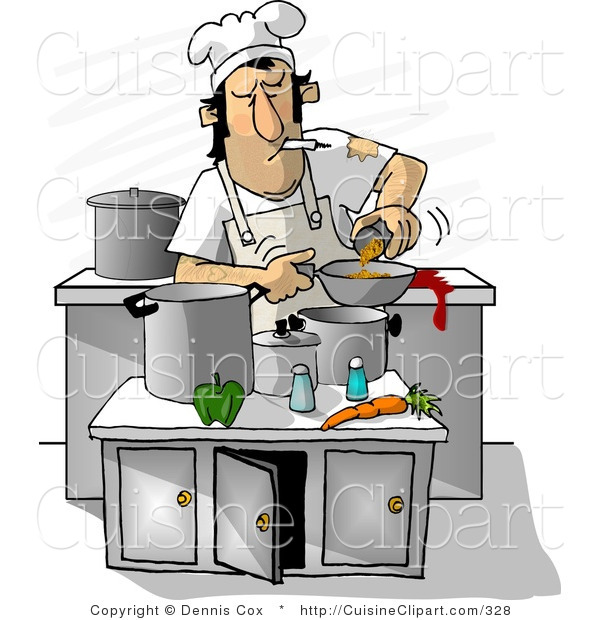 Cuisine clipart of a dirty cook smoking while cooking in a for Art and cuisine cookware review