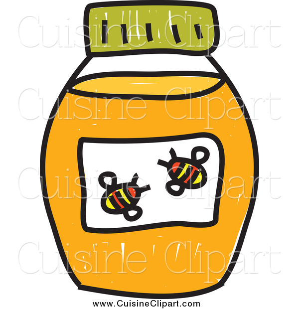 Cuisine Clipart of a Doodled Jar of Honey