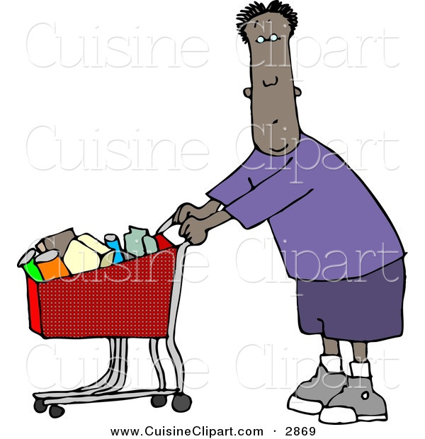 Cuisine Clipart of a Ethnic Man Grocery Shopping at His Local Grocery Store