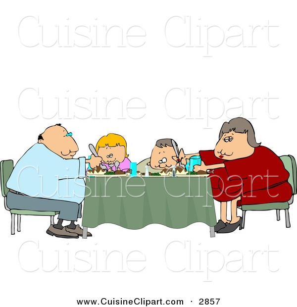 Cuisine Clipart of a Family of Four Eating Dinner Meal Together at the Dining Room Table