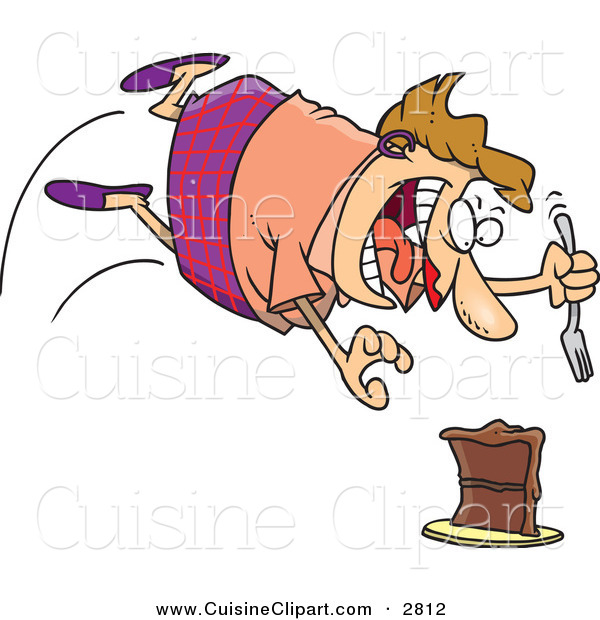 Cuisine Clipart of a Fat Caucasian Woman Diving Towards a Cake with a Fork