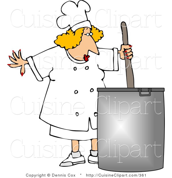 Cuisine Clipart of a Female Chef Stirring a Large Pot of Soup
