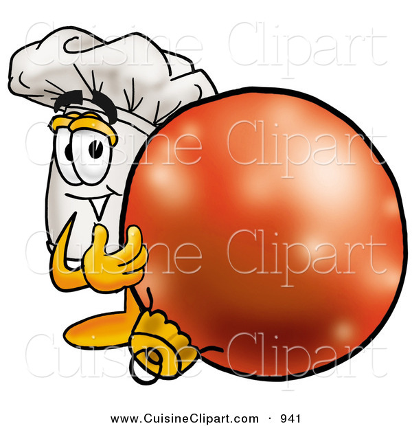 Cuisine Clipart of a Festive Chefs Hat Mascot Cartoon Character Standing with a Christmas Bauble