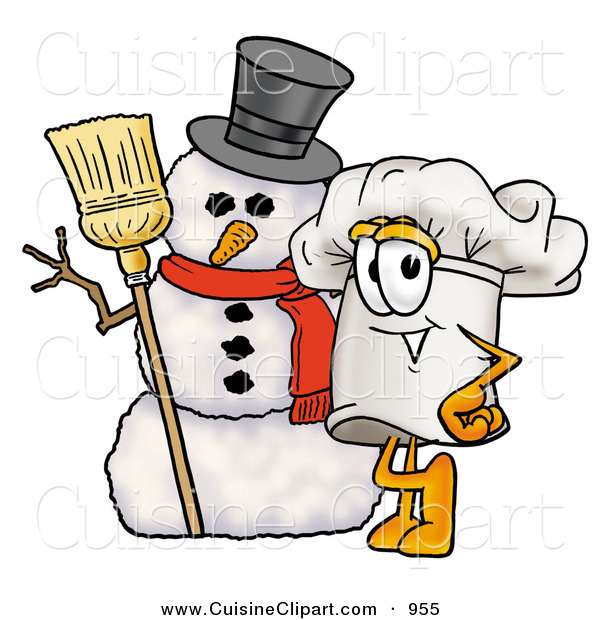 Cuisine Clipart of a Festive Chefs Hat Mascot Cartoon Character with Three Snowflakes in Winter