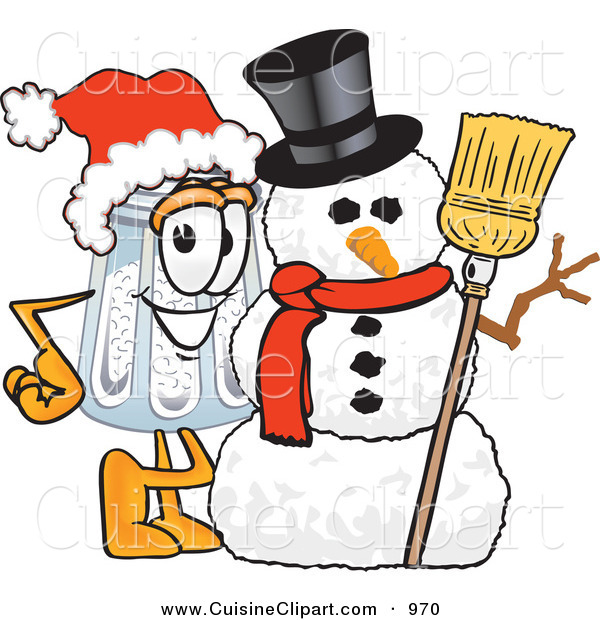 Cuisine Clipart of a Festive Happy Salt Shaker Mascot Cartoon Character with a Snowman on Christmas