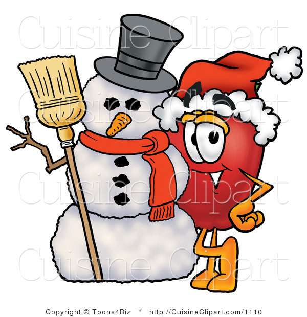 Cuisine Clipart of a Festive Red Apple Character Mascot Leaning on a Snowman on Christmas