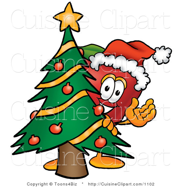 Cuisine Clipart of a Festive Red Apple Character Mascot with a Decorated Pine Christmas Tree