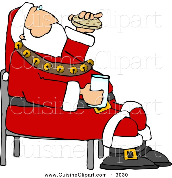 Cuisine Clipart of a Festive Santa Eating Chocolate Chip Cookies and Drinking Milk