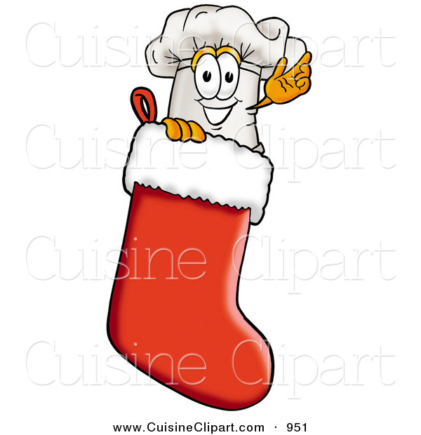 Cuisine Clipart of a Festive White Chefs Hat Mascot Cartoon Character Inside a Red Christmas Stocking