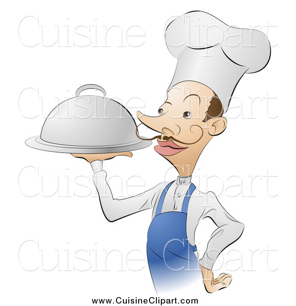 Cuisine Clipart of a French Male Chef Serving Platter of Food