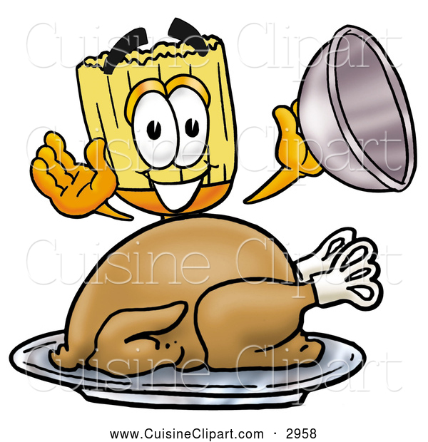 Cuisine Clipart of a Friendly Broom Mascot Cartoon Character Serving a Thanksgiving Turkey on a Platter
