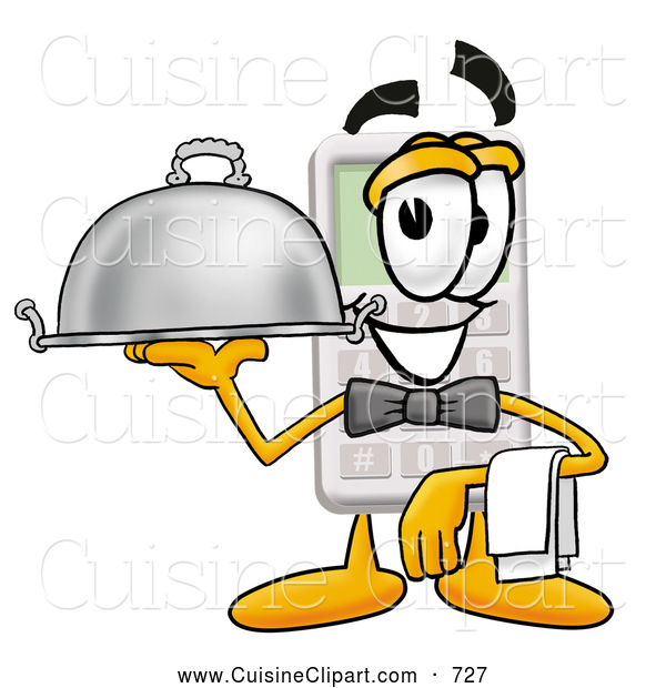 Cuisine Clipart of a Friendly Calculator Mascot Cartoon Character Dressed As a Waiter and Holding a Serving Platter