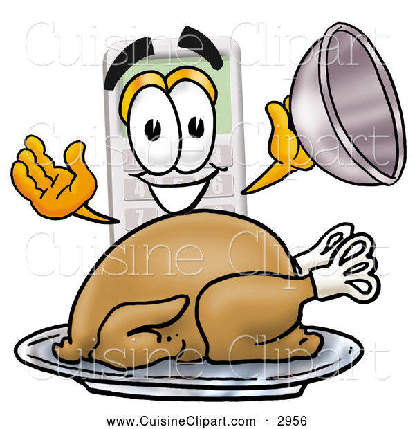 Cuisine Clipart of a Friendly Calculator Mascot Cartoon Character Serving a Thanksgiving Turkey on a Platter