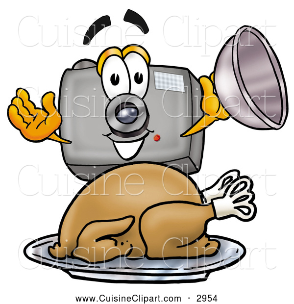 Cuisine Clipart of a Friendly Camera Mascot Cartoon Character Serving a Thanksgiving Turkey on a Platter