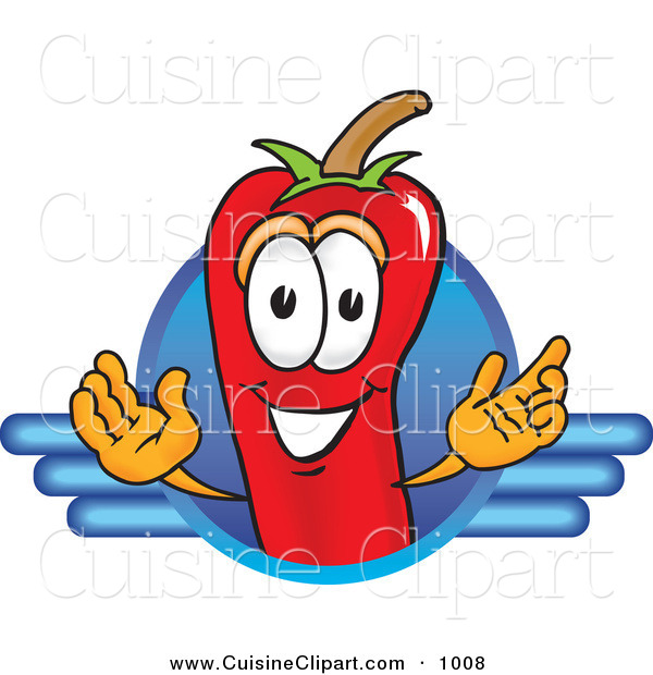 Cuisine Clipart of a Friendly Chili Pepper Mascot Cartoon Character Logo with a Blue Line Design