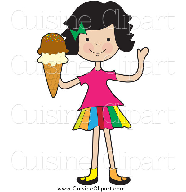 Cuisine Clipart of a Friendly Girl Waving and Holding an Ice Cream Cone