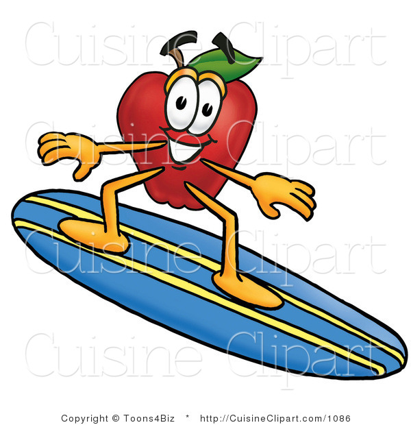 Cuisine Clipart of a Friendly Nutritious Red Apple Character Mascot Surfing on a Blue and Yellow Surfboard