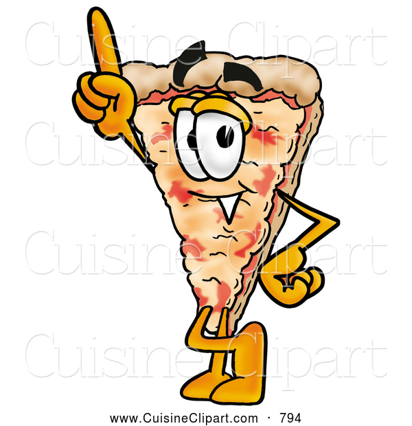 Cuisine Clipart of a Friendly or Outgoing Slice of Pizza Mascot Cartoon Character Pointing Upwards