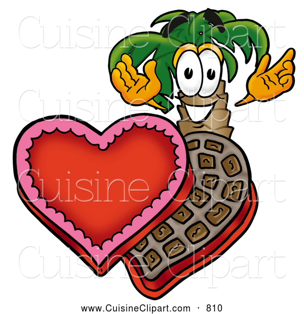 Cuisine Clipart of a Friendly Palm Tree Mascot Cartoon Character with an Open Box of Valentines Day Chocolate Candies