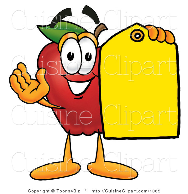Cuisine Clipart of a Friendly Red Apple Character Mascot Holding a Blank Yellow Price Tag for a Sale