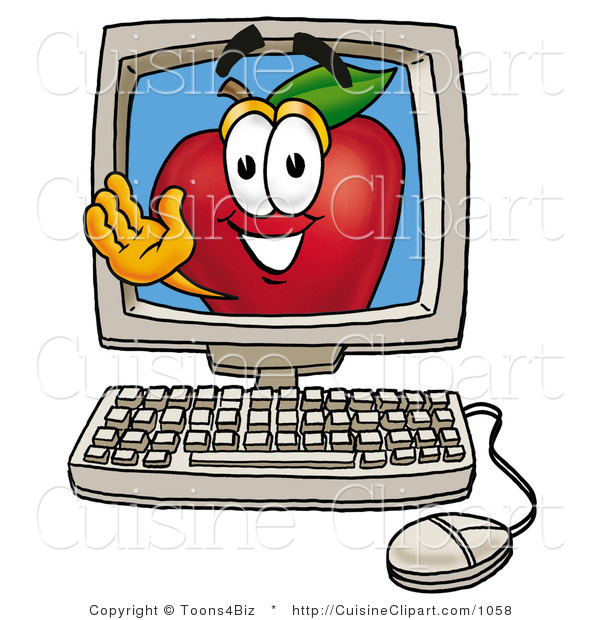 Cuisine Clipart of a Friendly Red Apple Character Mascot on a Desktop Computer Screen