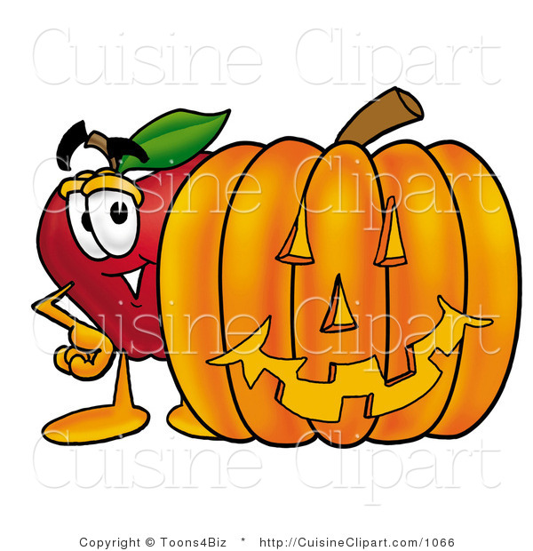 Cuisine Clipart of a Friendly Red Apple Character Mascot Standing with a Carved Jackolantern Halloween Pumpkin