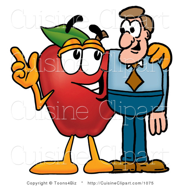 Cuisine Clipart of a Friendly Red Apple Character Mascot Talking Nutrition with a Business Man