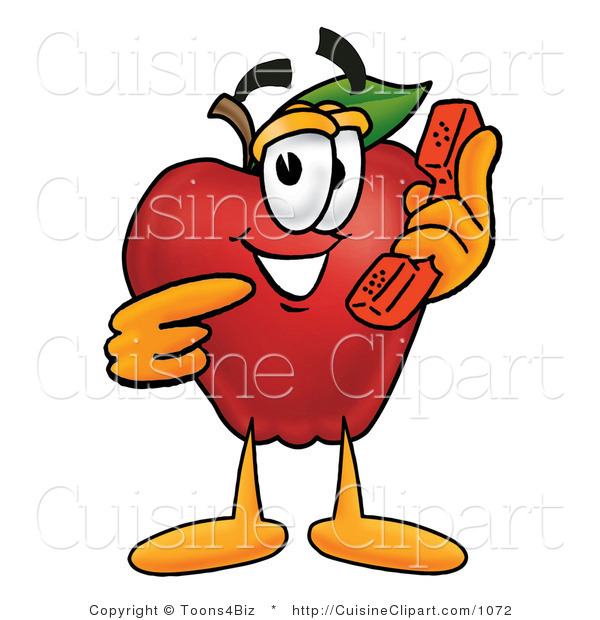 Cuisine Clipart of a Friendly Red Apple Character Mascot Talking on a Telephone