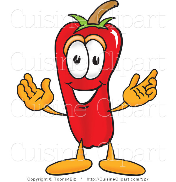 Cuisine Clipart of a Friendly Red Chili Pepper Mascot Cartoon Character with a Smile