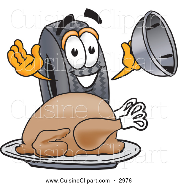 Cuisine Clipart of a Friendly Rubber Tire Mascot Cartoon Character Serving a Thanksgiving Turkey on a Platter