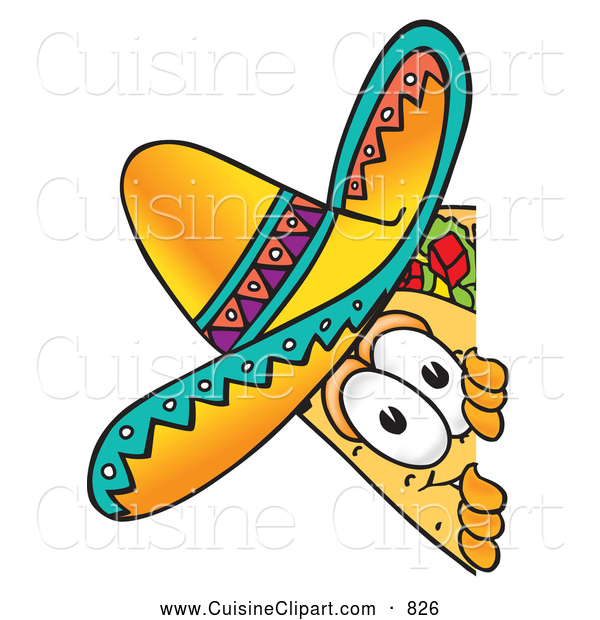 Cuisine Clipart of a Friendly Taco Mascot Cartoon Character Peeking Around a Corner