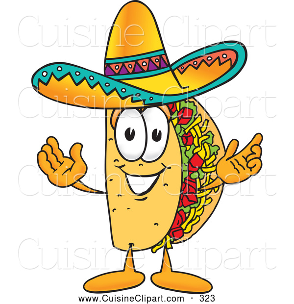 Cuisine Clipart of a Friendly Taco Mascot Cartoon Character with Welcoming Open Arms