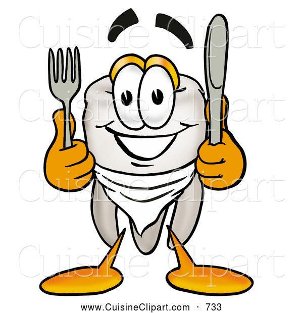 Cuisine Clipart of a Friendly Tooth Mascot Cartoon Character Holding a Knife and Fork