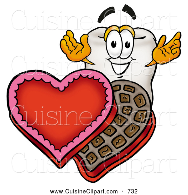 Cuisine Clipart of a Friendly Tooth Mascot Cartoon Character with an Open Box of Valentines Day Chocolate Candies
