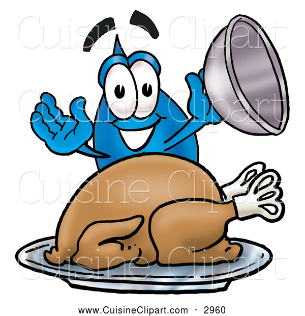 Cuisine Clipart of a Friendly Water Drop Mascot Cartoon Character Serving a Thanksgiving Turkey on a Platter
