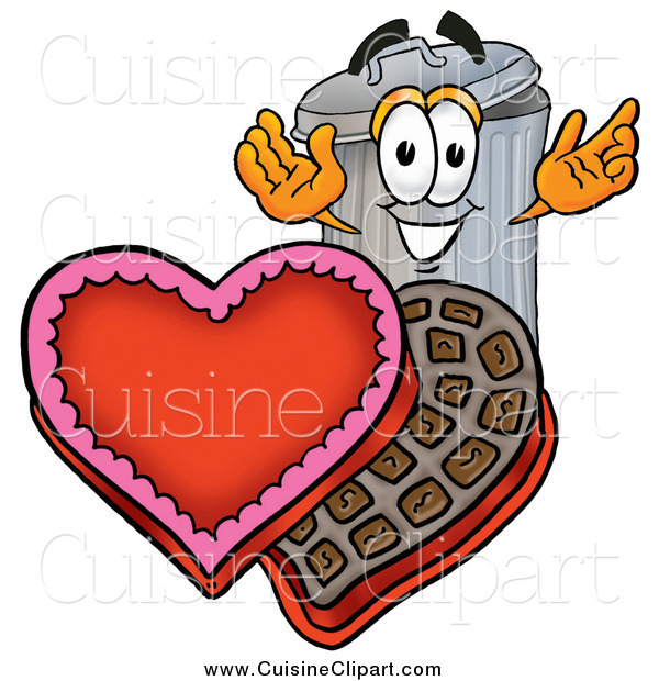 Cuisine Clipart of a Garbage Can Character with a Box of Valentines Day Chocolate Candies