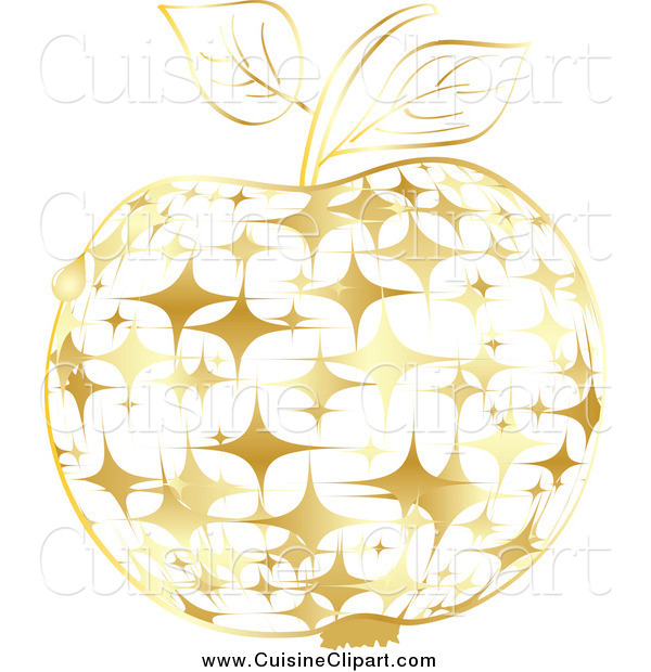 Cuisine Clipart of a Gold Sparkly Apple