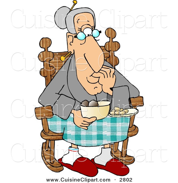Cuisine Clipart of a Grandma Eating Food While Sitting in Her Rocking Chair