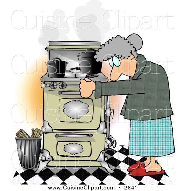 Cuisine Clipart of a Gray Haired Elderly Woman Cooking Food on an Old Household Kitchen Stove
