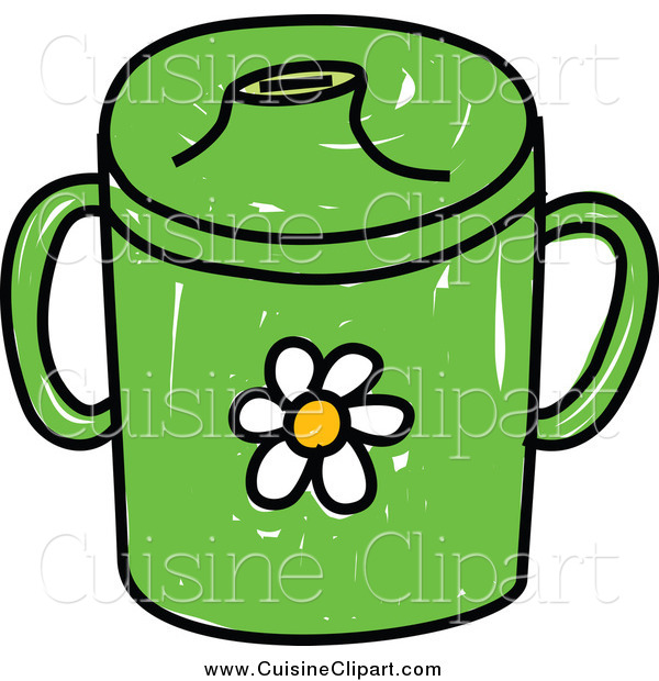 Cuisine Clipart of a Green Baby Beaker Cup with a Daisy