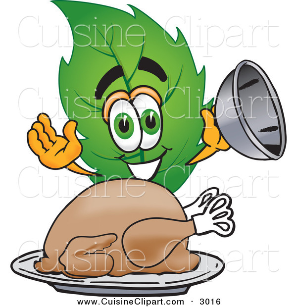 Cuisine Clipart of a Green Leaf Mascot Cartoon Character Serving a Thanksgiving Turkey on a Platter