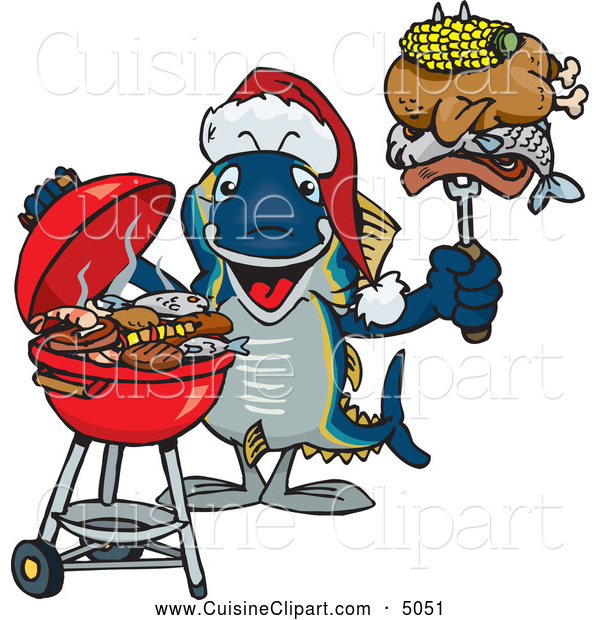 Cuisine Clipart of a Grilling Christmas Tuna Fish