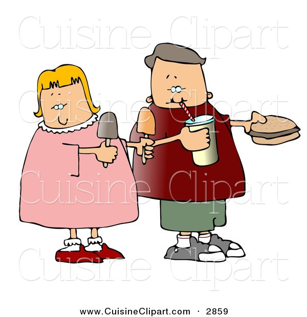Cuisine Clipart of a Grinning Boy and Girl Eating Food Together