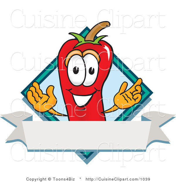 Cuisine Clipart of a Grinning Chili Pepper Mascot Cartoon Character with a Blue Diamond and Blank Label