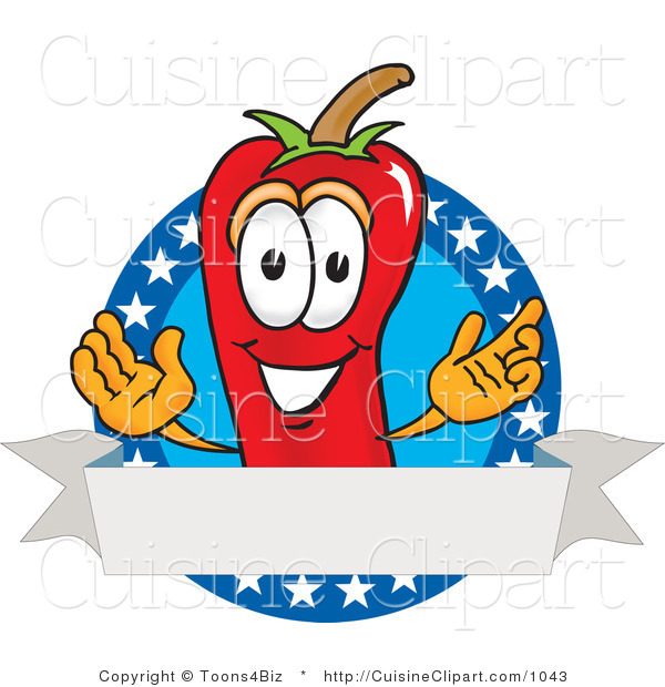 Cuisine Clipart of a Grinning Chili Pepper Mascot Cartoon Character with Stars and a Blank Label